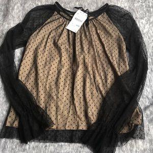 New Zara sheer polka dot black long sleeve blouse